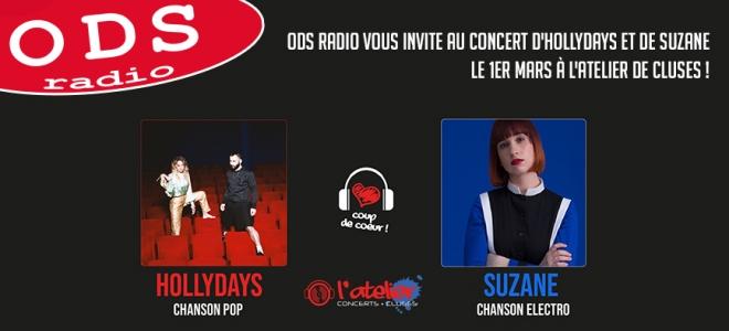 Hollydays et Suzane en concert à l'Atelier de Cluses !